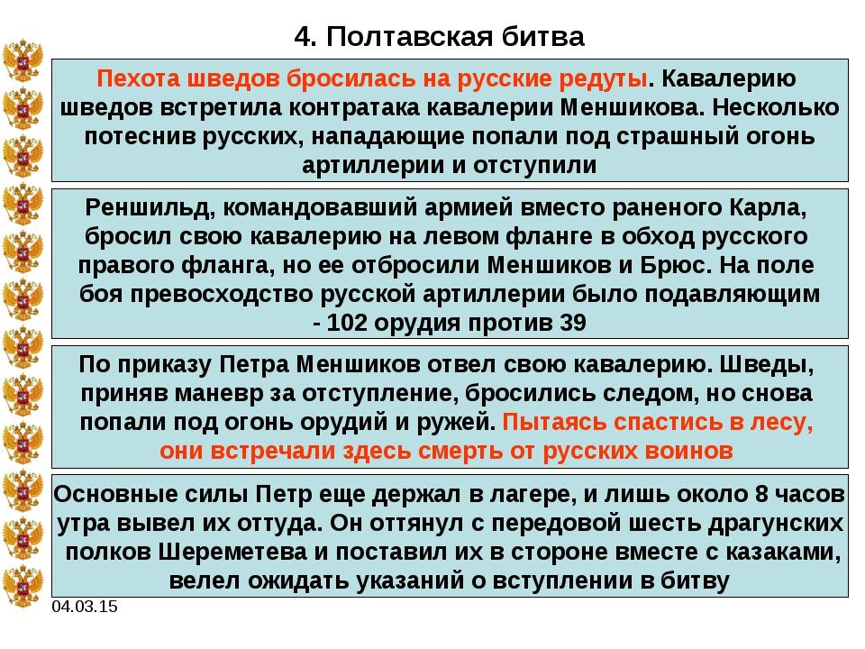 04.03.15 4. Полтавская битва Пехота шведов бросилась на русские редуты. Кавал...