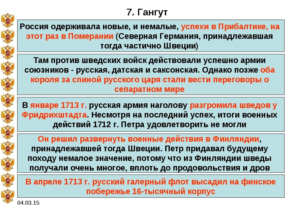 04.03.15 7. Гангут Россия одерживала новые, и немалые, успехи в Прибалтике, н...