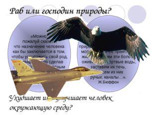 Раб или господин природы? Ухудшает или улучшает человек окружающую среду? «Мо