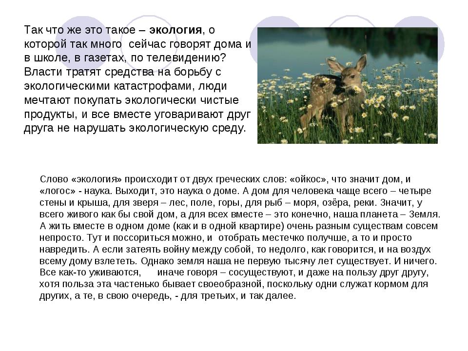 Слово «экология» происходит от двух греческих слов: «ойкос», что значит дом,...