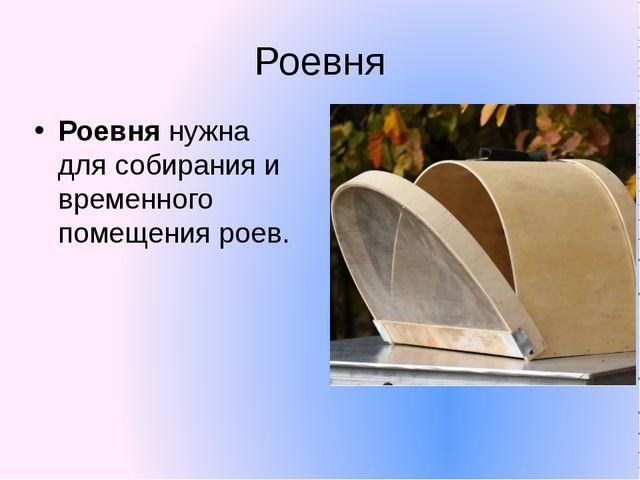 Роевня Роевнянужна для собирания и временного помещения роев.