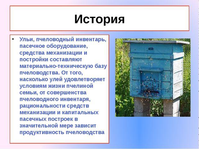 История Ульи, пчеловодный инвентарь, пасечное оборудование, средства механиза...