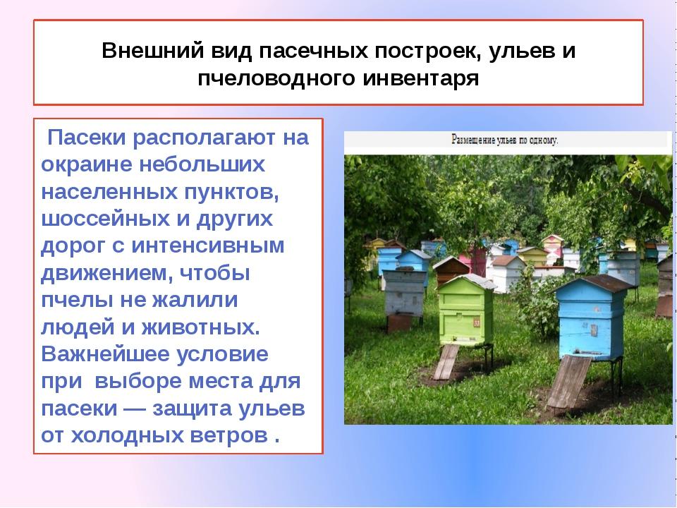 Внешний вид пасечных построек, ульев и пчеловодного инвентаря Пасеки располаг...