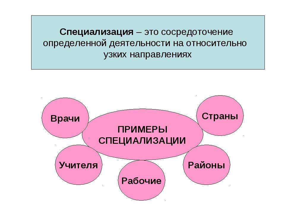 Специализация – это сосредоточение определенной деятельности на относительно...