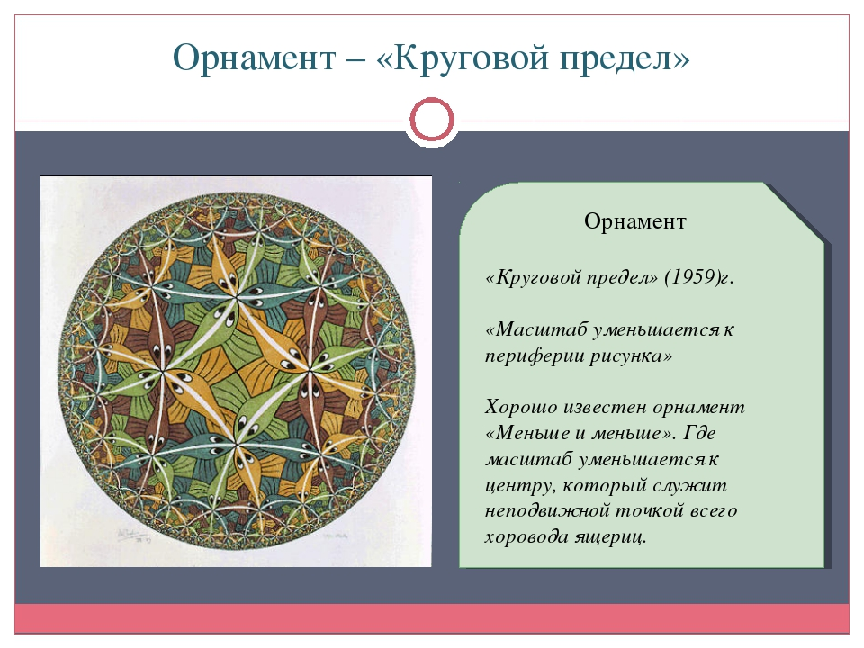 Орнамент – «Круговой предел» Орнамент «Круговой предел» (1959)г. «Масштаб уме...