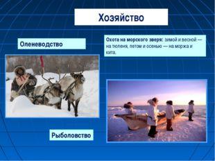 Хозяйство Оленеводство Охота на морского зверя: зимой и весной — на тюленя, л