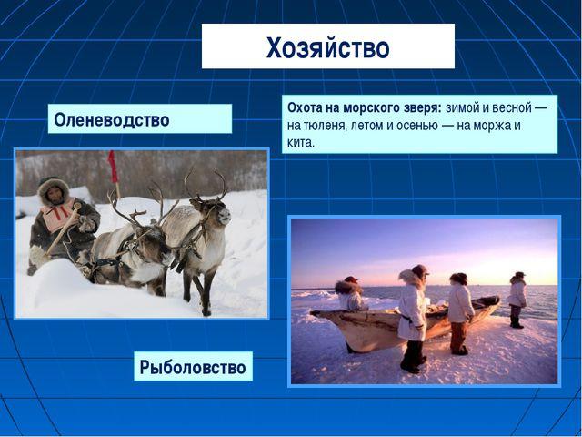 Хозяйство Оленеводство Охота на морского зверя: зимой и весной — на тюленя, л...