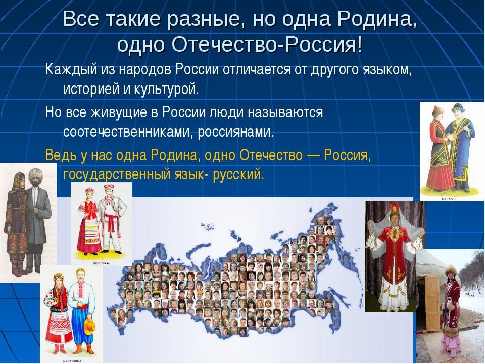 Все такие разные, но одна Родина, одно Отечество-Россия! Каждый из народов Ро...