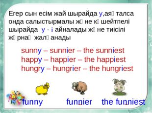 sunny – sunnier – the sunniest happy – happier – the happiest hungry – hungri