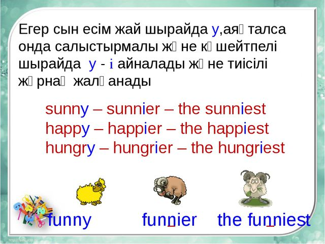 sunny – sunnier – the sunniest happy – happier – the happiest hungry – hungri...