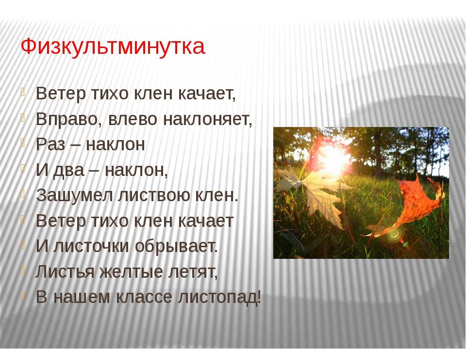 Физкультминутка Ветер тихо клен качает, Вправо, влево наклоняет, Раз – наклон...