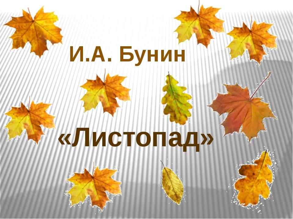 И.А. Бунин «Листопад»
