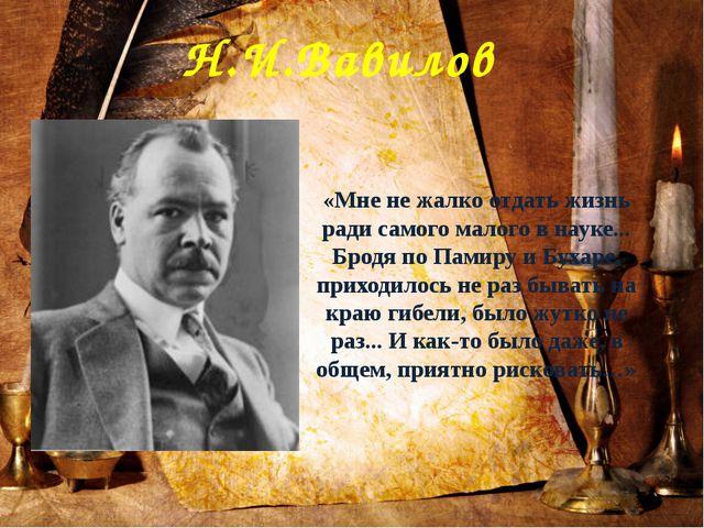 Н.И.Вавилов «Мне не жалко отдать жизнь ради самого малого в науке... Бродя по...
