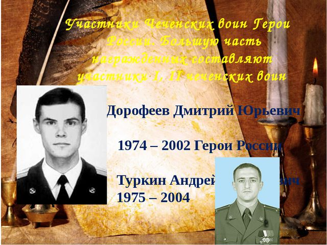 Участники Чеченских воин Герои России. Большую часть награжденных составляют...