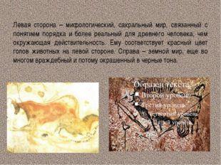 Левая сторона – мифологический, сакральный мир, связанный с понятием порядка
