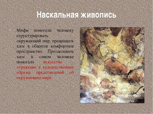 Наскальная живопись Мифы помогали человеку структурировать окружающий мир, пр...