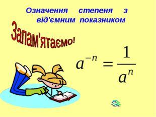 Означення степеня з від'ємним показником