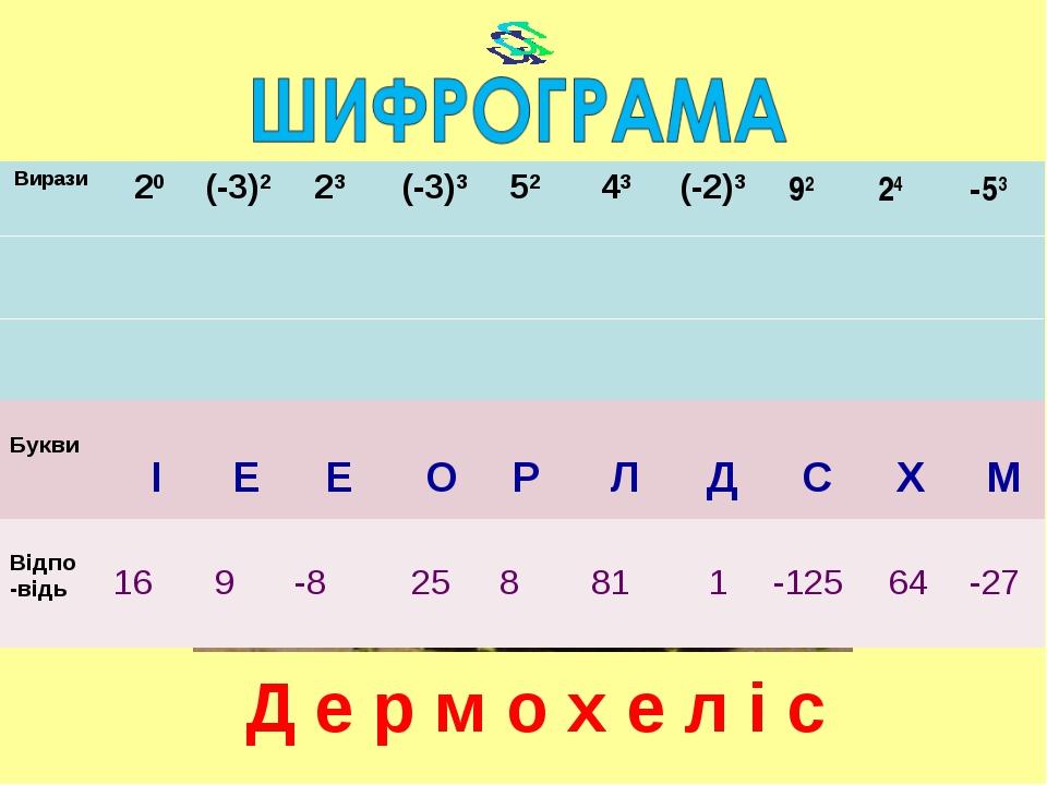 Д е р м о х е л і с Вирази 20 (-3)2 23 (-3)3 52 43(-2)3 92 24 -53 Б...