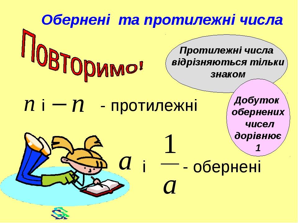 і - обернені і - протилежні Обернені та протилежні числа Протилежні числа ві...