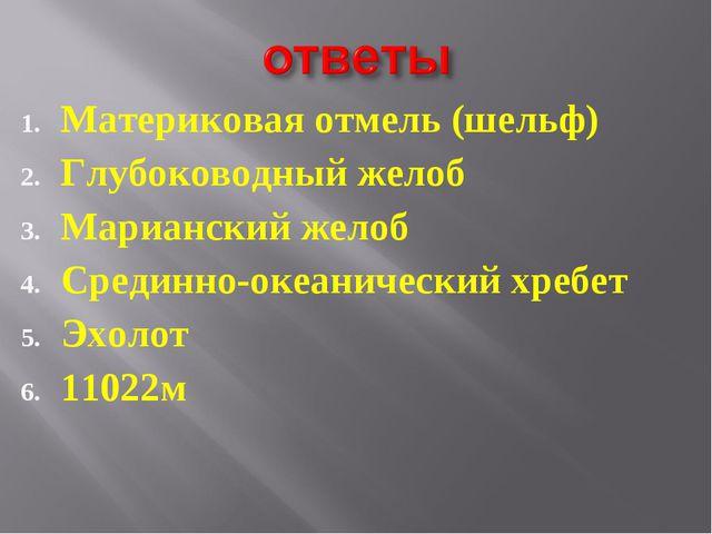 Материковая отмель (шельф) Глубоководный желоб Марианский желоб Срединно-океа...