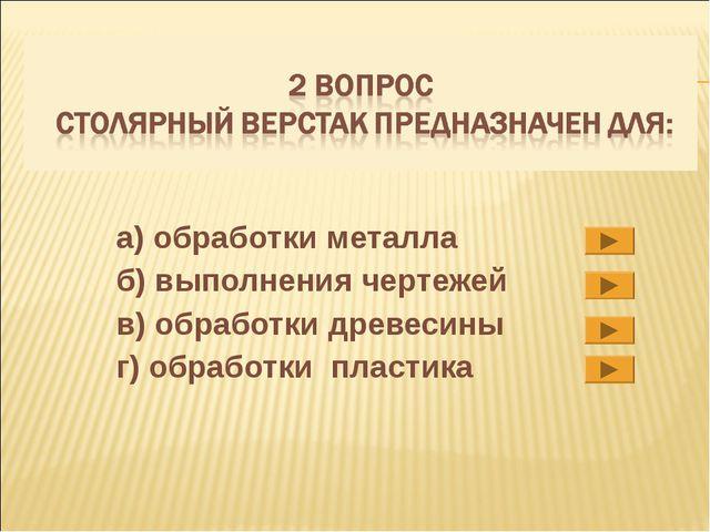 а) обработки металла б) выполнения чертежей в) обработки древесины г) обработ...