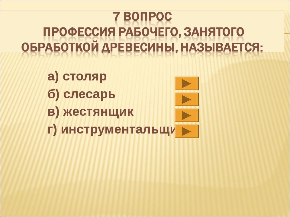 а) столяр б) слесарь в) жестянщик г) инструментальщик