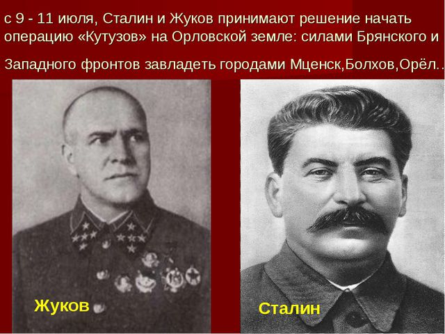 с 9 - 11 июля, Сталин и Жуков принимают решение начать операцию «Кутузов» на...