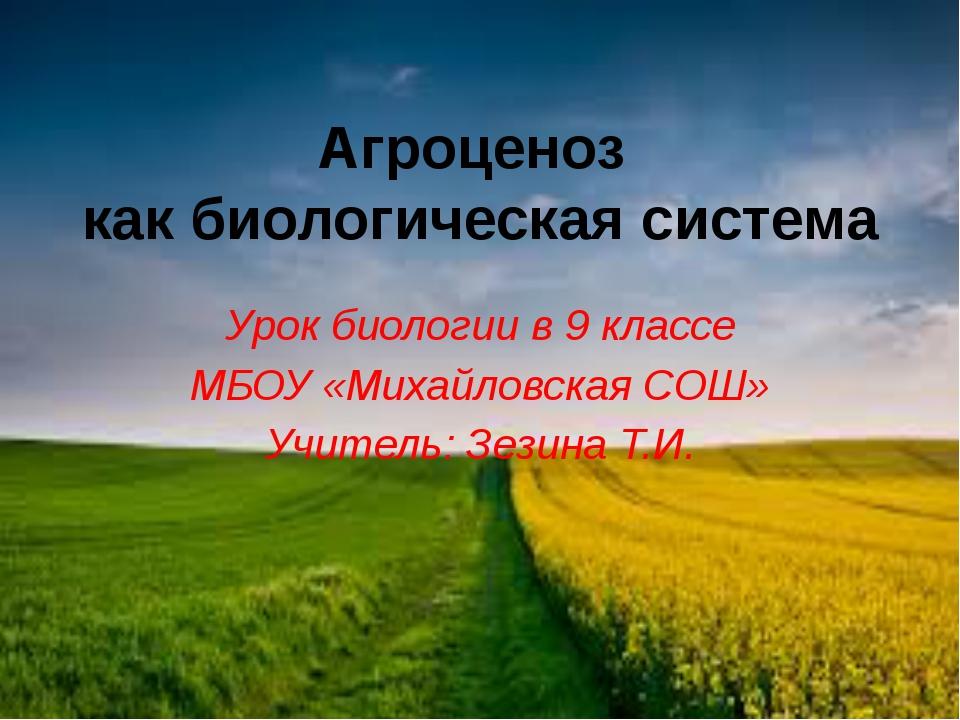 Агроценоз как биологическая система Урок биологии в 9 классе МБОУ «Михайловск...