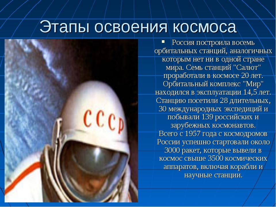 Этапы освоения космоса Россия построила восемь орбитальных станций, аналогичн...