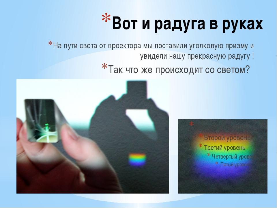Вот и радуга в руках На пути света от проектора мы поставили уголковую призму...