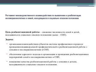 Регламент межведомственного взаимодействия по выявлению и реабилитации несов