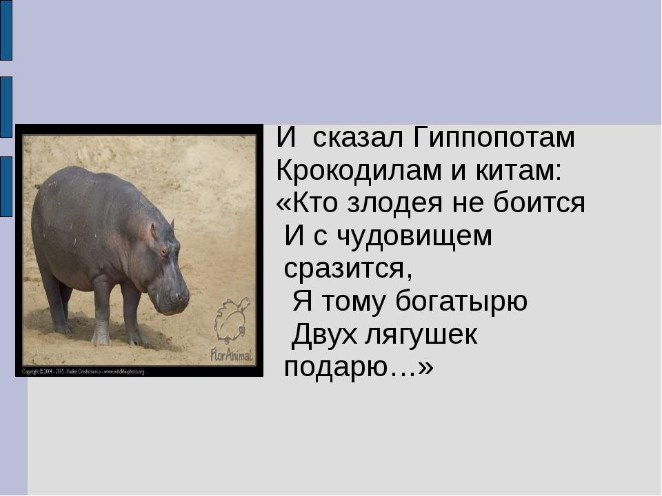 И сказал Гиппопотам Крокодилам и китам: «Кто злодея не боится И с чудовищем...