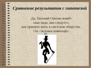 Да, Евгений Онегин живёт «как надо, как следует», как принято жить в светском