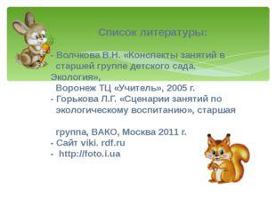 Список литературы: - Волчкова В.Н. «Конспекты занятий в старшей группе детск