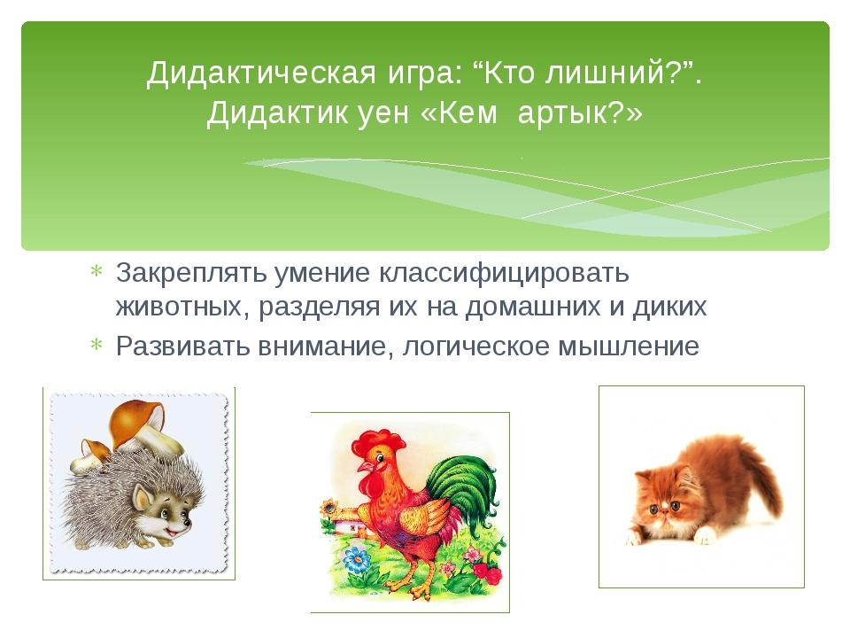 Закреплять умение классифицировать животных, разделяя их на домашних и диких...