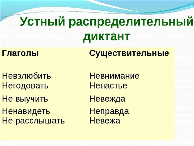 Устный распределительный диктант Глаголы Существительные Невзлюбить Негодова...