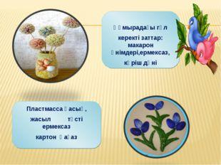 Құмырадағы гүл керекті заттар: макарон өнімдері,ермексаз, күріш дәні Пластма