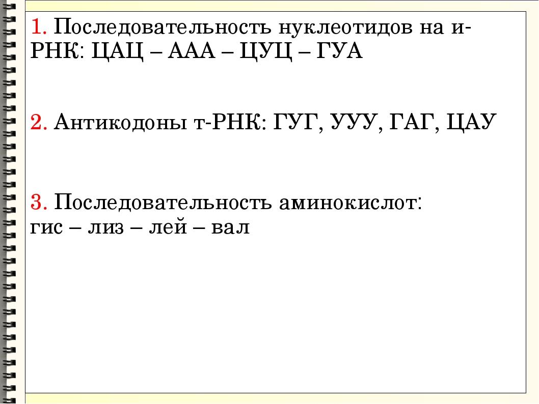 1. Последовательность нуклеотидов на и-РНК: ЦАЦ – ААА – ЦУЦ – ГУА 2. Антикодо...