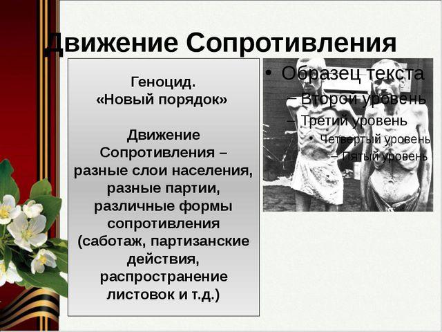 Движение Сопротивления Геноцид. «Новый порядок» Движение Сопротивления – разн...