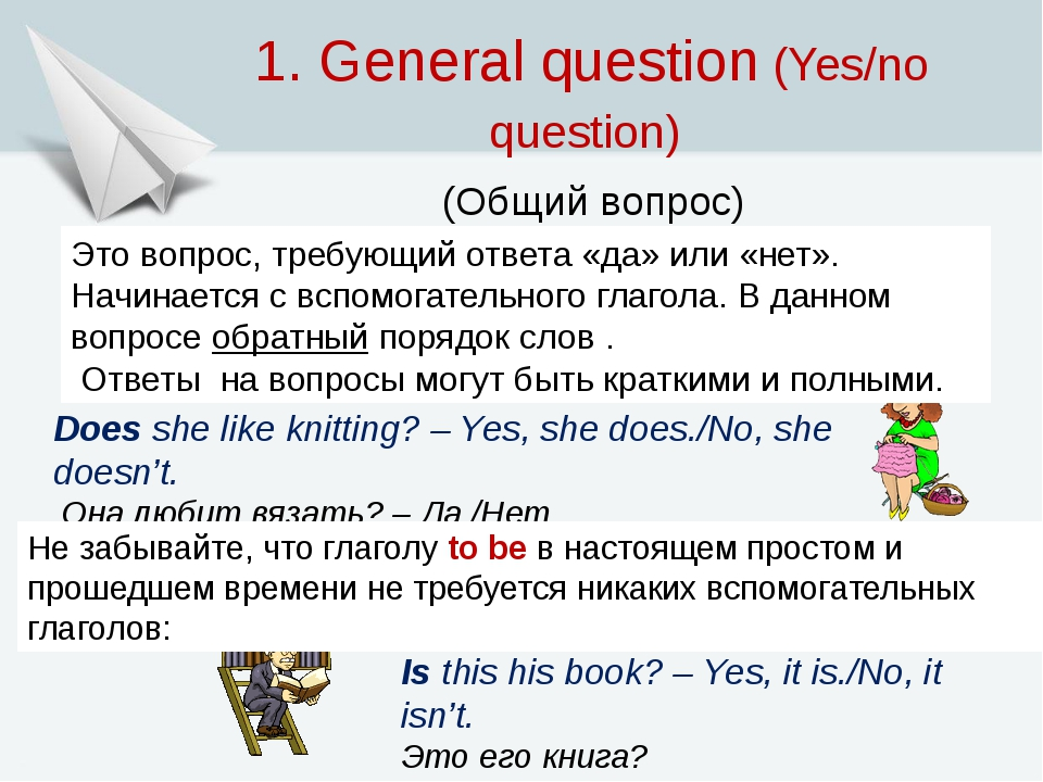 1. General question (Yes/no question) (Общий вопрос) Does she like knitting?...