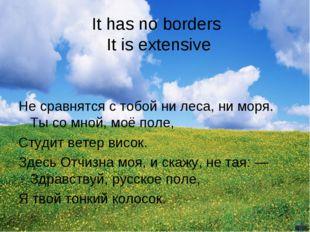 It has no borders It is extensive Не сравнятся с тобой ни леса, ни моря. Ты с