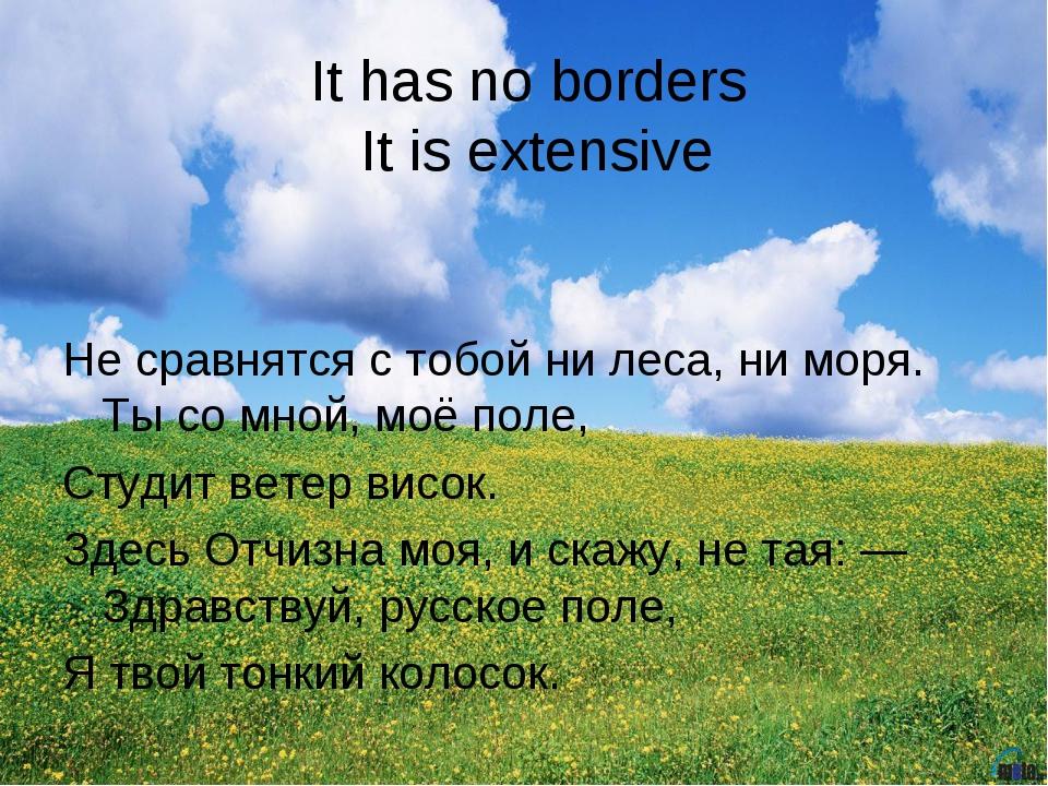 It has no borders It is extensive Не сравнятся с тобой ни леса, ни моря. Ты с...