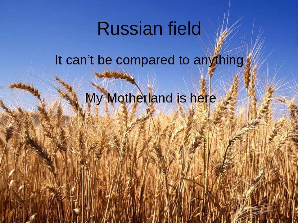 Russian field It can't be compared to anything My Motherland is here