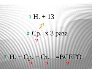 Н. + Ср. + Ст. Ср. х 3 раза Н. + 13 ? 1 2 3 ? ? ? =ВСЕГО