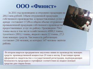 За2011 год произведено и отгружено продукции на 280,5 млн.рублей. Объем отг