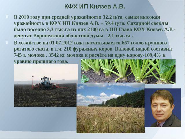 КФХ ИП Князев А.В. В 2010 году при средней урожайности 32,2 ц/га, самая высок...