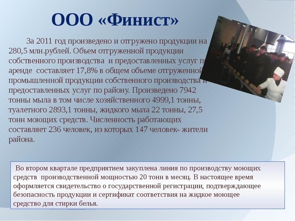 За2011 год произведено и отгружено продукции на 280,5 млн.рублей. Объем отг...
