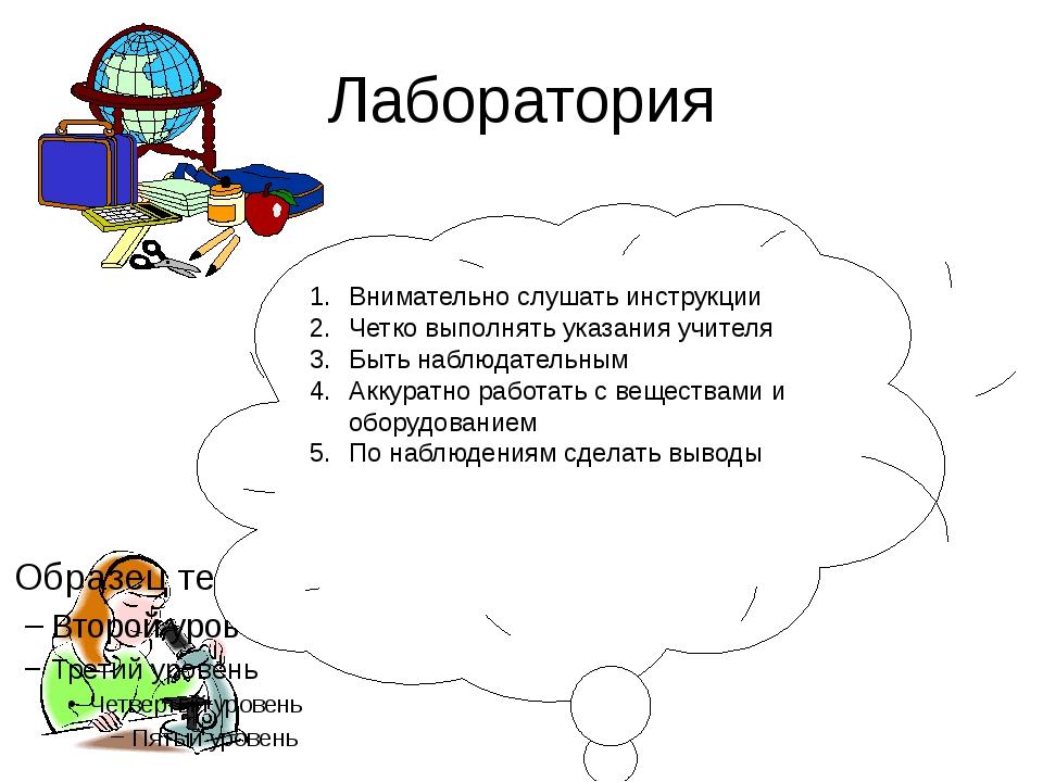 Лаборатория Внимательно слушать инструкции Четко выполнять указания учителя Б...