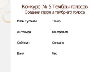 Конкурс № 5 Тембры голосов Соедини героя и тембр его голоса Иван Сусанин Тено