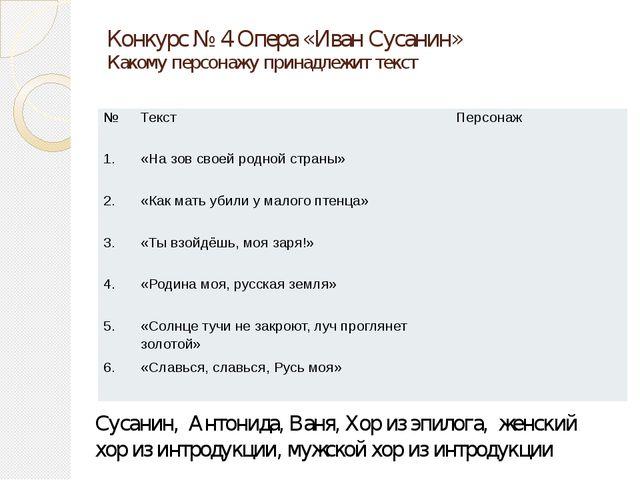 Конкурс № 4 Опера «Иван Сусанин» Какому персонажу принадлежит текст Сусанин,...